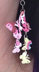 Lrg Pink and Bold Butterfly earrings